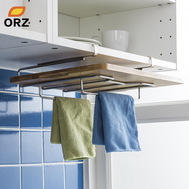 Orz Kitchen Towel Holder Cutting Board Rack Chopping Stainless Steel Hanging Storage Shelf