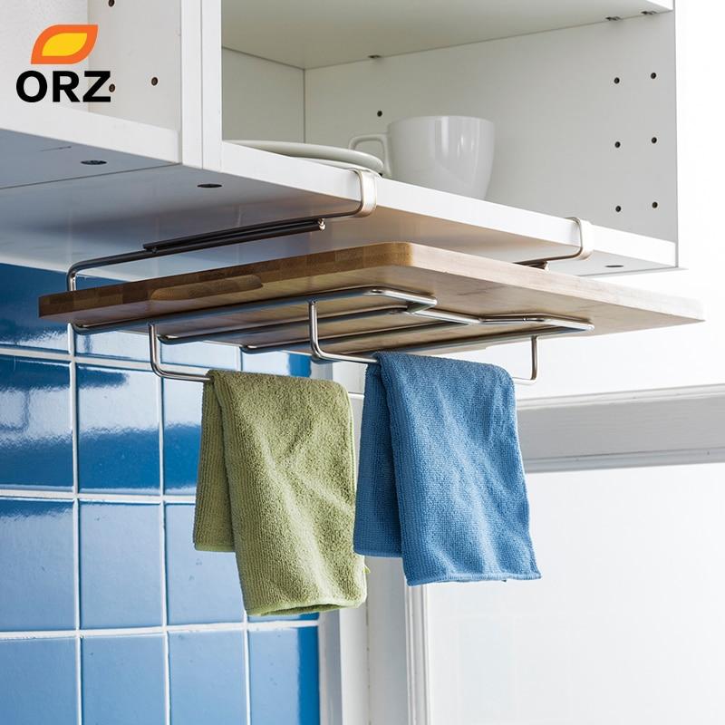 ORZ Kitchen Towel Holder Cutting Board Rack Chopping Board Holder Stainless Steel Hanging Storage Shelf Rack Kitchen Organizer