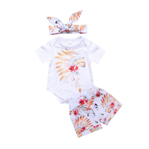 Cute Newborn Infant Baby Girl Gypsy Romper Bodysuit Tops + Shorts Bottoms Outfits Set Summer Toddler Girl Clothing Handband 3pcs 3pcs set cute newborn baby girl clothes 2017 worth the wait baby bodysuit romper ruffles tutu skirted shorts headband outfits