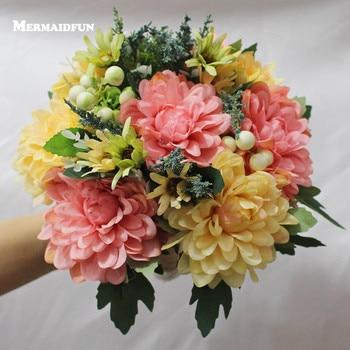 2019 Real Resimleri Pembe Sarı çiçek Düğün Buket Yapay Gelin Buketi