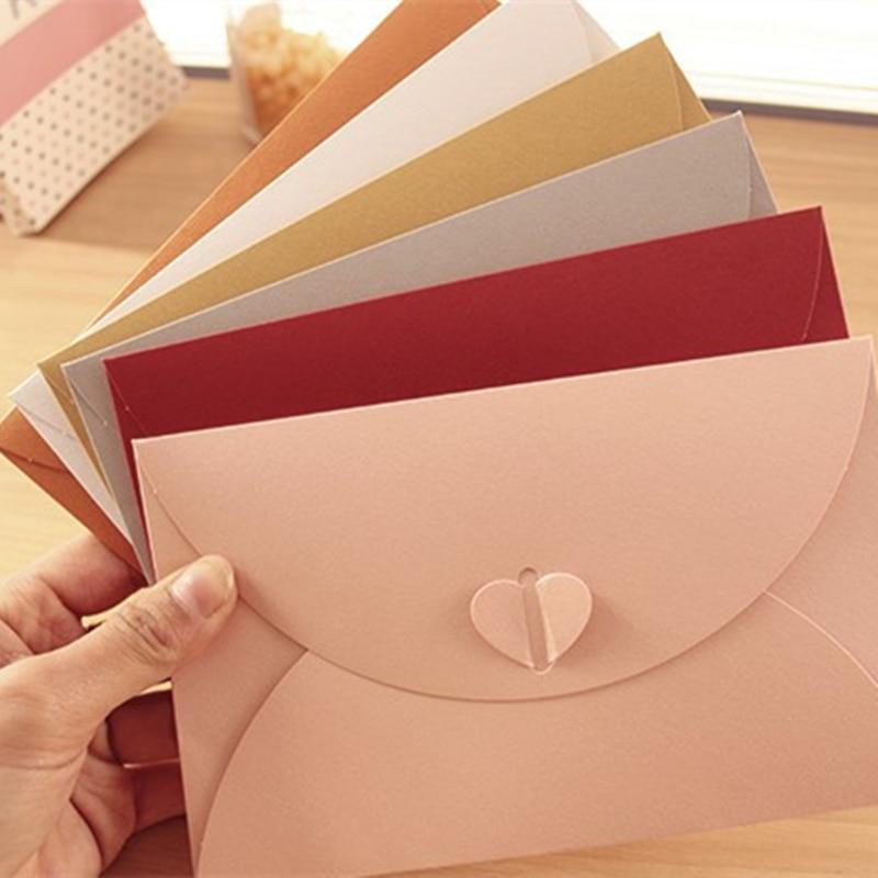Coloffice 5pcs/lot 17.5*11cm Colorful Simple Heart Buckle Paper Envelopes Retro Small Envelope Paper Invitation Wedding Cards