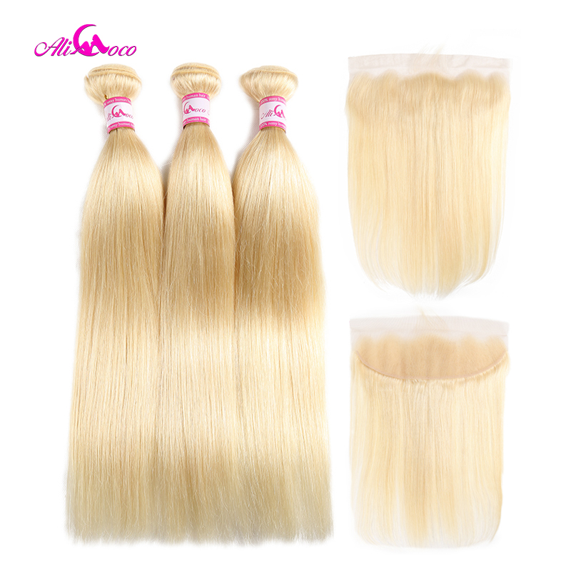 Ali Coco Hair 613 Blonde Color Brazilian Straight Hair 3 Bundles With 13X4 Frontal Remy Hair