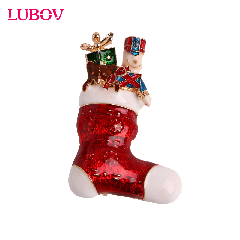Christmas Brooch Delicate Red Shoes Santa Claus Boots Cute Cartoon Design Collar Pin Free Shopping 2018 New XZ006