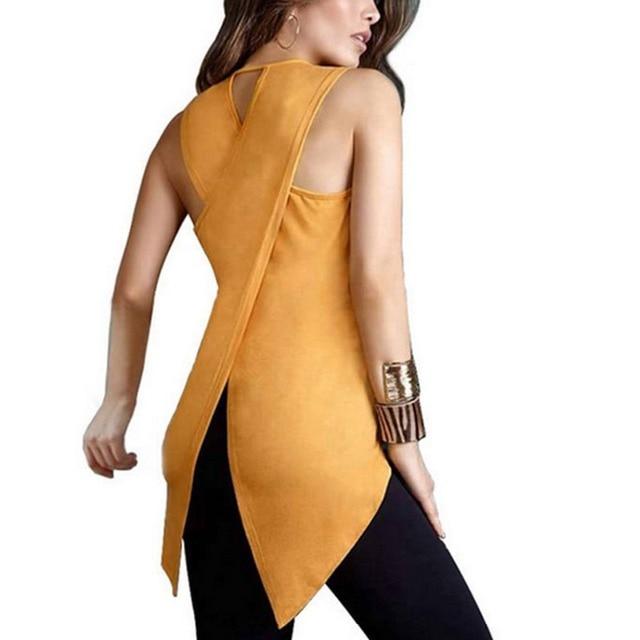 Mode Femmes de Dame D'été Sans Manches Mince Blouse Casual Irrégulière Shirt Tops Asymétrie chemisier en mousseline shirt tops blusas Plus