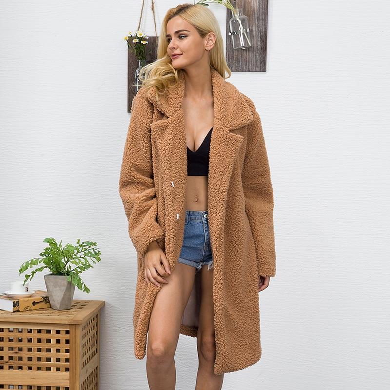 2018 frauen Faux Pelz Teddy Mantel Winter Dicke Warme Flauschige Lange Pelz Mäntel Mode Revers Shaggy Jacken Mantel Plus Größe outwear