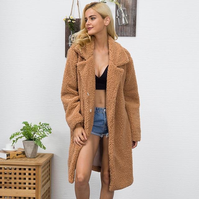 Mulheres da Pele Do Falso Casaco De Pelúcia 2019 Primavera Grossas de Inverno Quente Fluffy Shaggy Longo Fur Coats Lapela Casacos Sobretudo Plus Size outwear