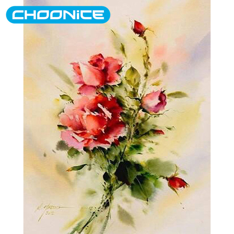 Chinese Cross Stitch Oil Painting Rose DIY 3D Diamond Embroidery Flower Watercolor Red Rose Mosaic Drawings Coloring By Numbers