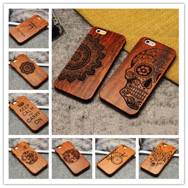 For apple iphone 6 plus 5.5 natural real walnut bamboo wood carving