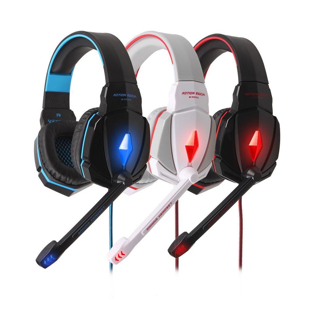 EACH G4000 Pro Gaming Headset Headphone Noise Reduce Earhones Stereo Surround Headband  with Microphone LED Light for PC Gamers