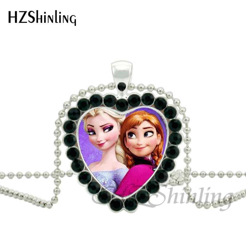 Moda dos desenhos animados neve rainha elsa anna princesa filme coração jóias pingente de cristal branco colar meninas charme presentes das crianças