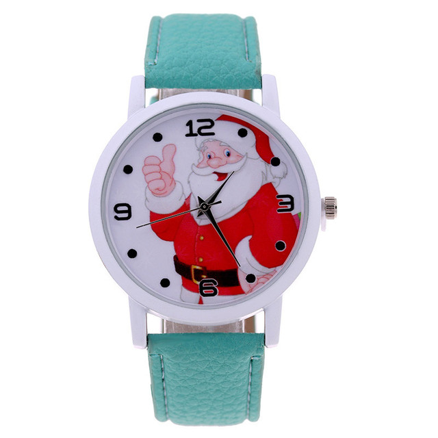 Fashion Men Women Wristwatch Christmas Santa Claus Pattern Watches PU Leather Strap Children Kids Casual Quartz Watch LX