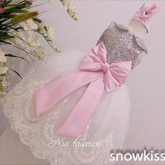 2016 Cheap Bling Sliver Sequin Sleeves long flower girl dresses with Bow baby Birthday Party Dress toddler Girl pageant Dress sliver bling sequins pink white lace baby birthday party dress flower girl dress