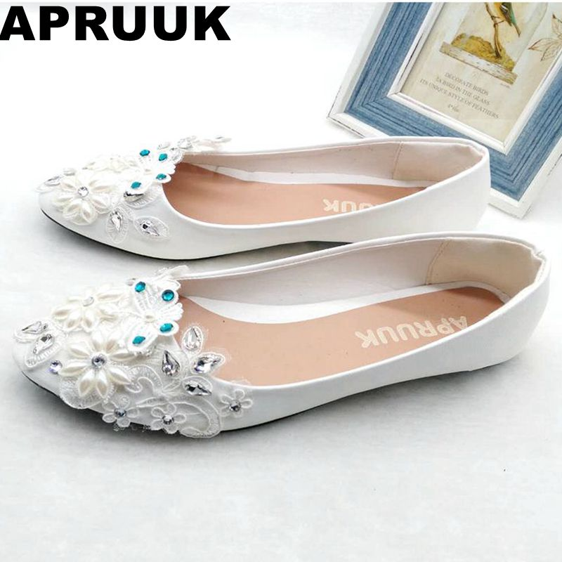 Women wedding shoes flat heel round toes plus size bride shoes lady female sweet lace pearls proms dress evening party shoes women wedding shoes flat heel round toes plus size bride shoes lady female sweet lace pearls proms dress evening party shoes