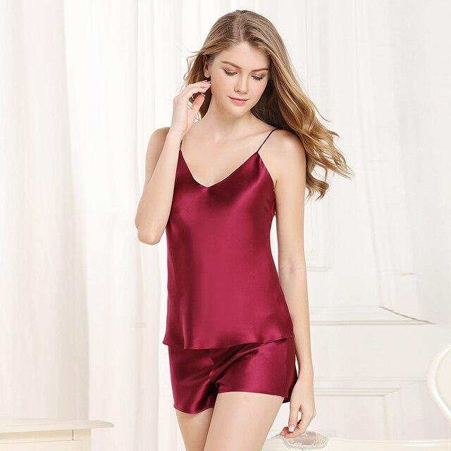 83acafa2bf772c Aliexpress.com   Buy Spaghetti Strap silk Satin Pajamas Sets 2019solid red  black Imitated brand 100% Silk Pajama Women Home Clothes silk Sleepwear  from ...