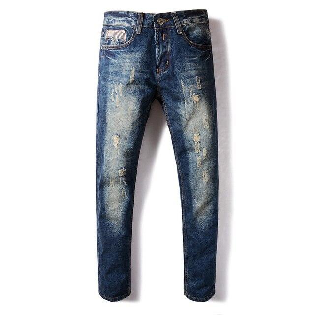 Fashion Designer Herren Jeans Dunkle Farbe Retro Vintage Waschen Zerrissene  Jeans Für Männer DSEL Marke Slim 4bc8625564