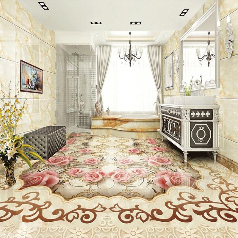 Custom Floor Wallpaper European Style Jade Flower Pattern