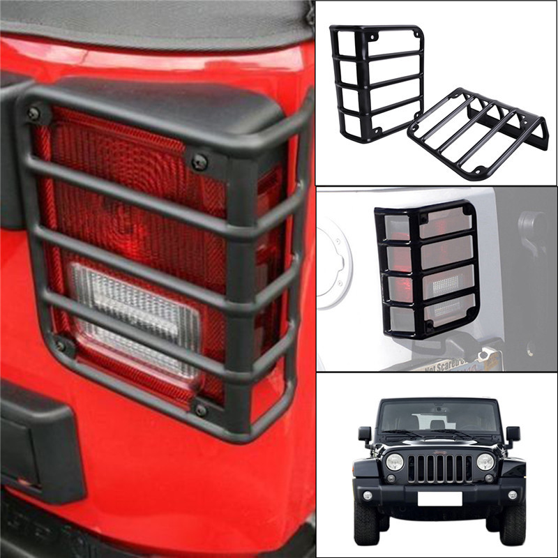 2PCS/Lot Black Metal Rear Tail Light Lamp Guards Set For Jeep Wrangler JK 2007-2016 Euro Taillight   // 2pcs metal black hood buckle catch lock latches hold down for wrangler jk unlimited 2007 2016