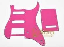 ST Strat HSS Pickguard, Trem Tremolo Back Cover w/ Screws Pink Red