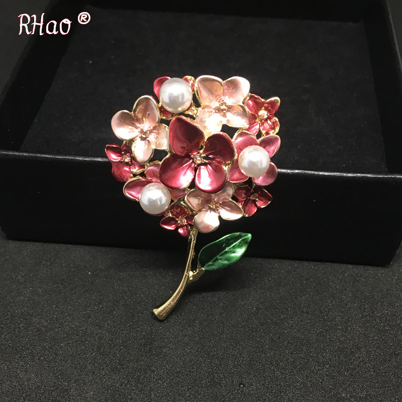 Red flower Brooches Gold-color Enamel Plant Brooch Lapel Pin Shiny