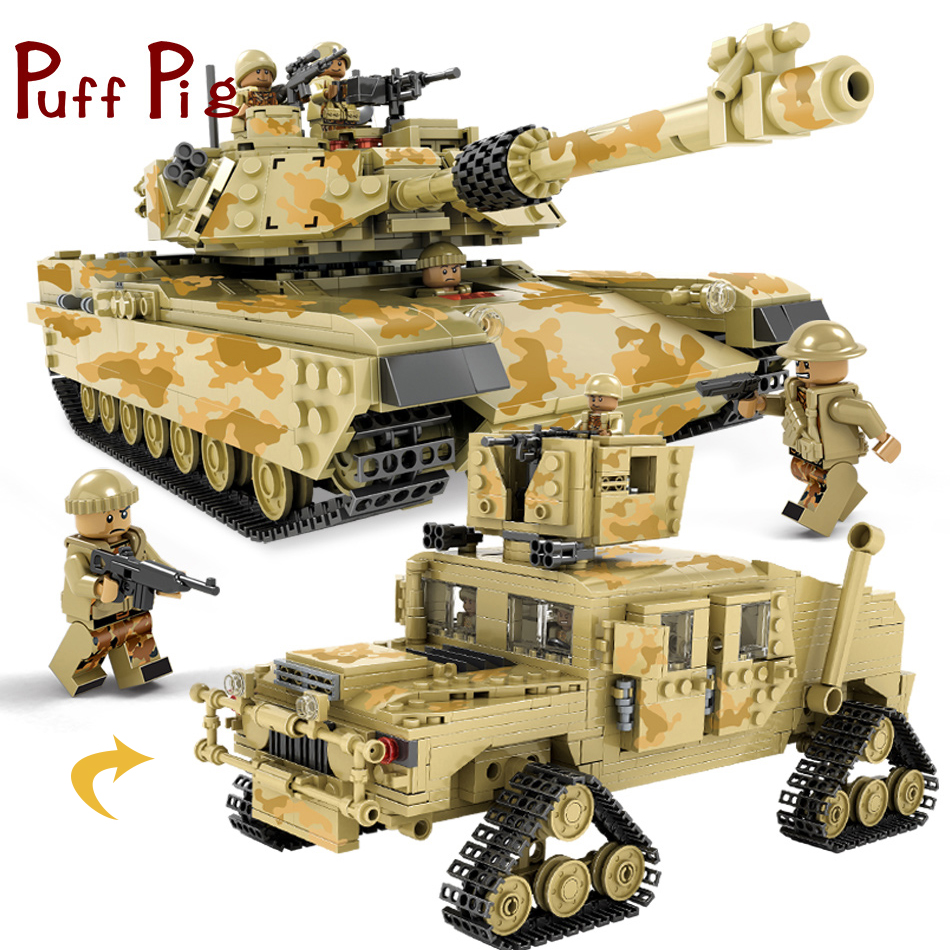 цена на 1205PCS 2in1 Miliatry M1A1 Abrams Tiger Tank Model US Soldiers Guns Building Blocks Compatible Legoed Army ww2 Toys For Children