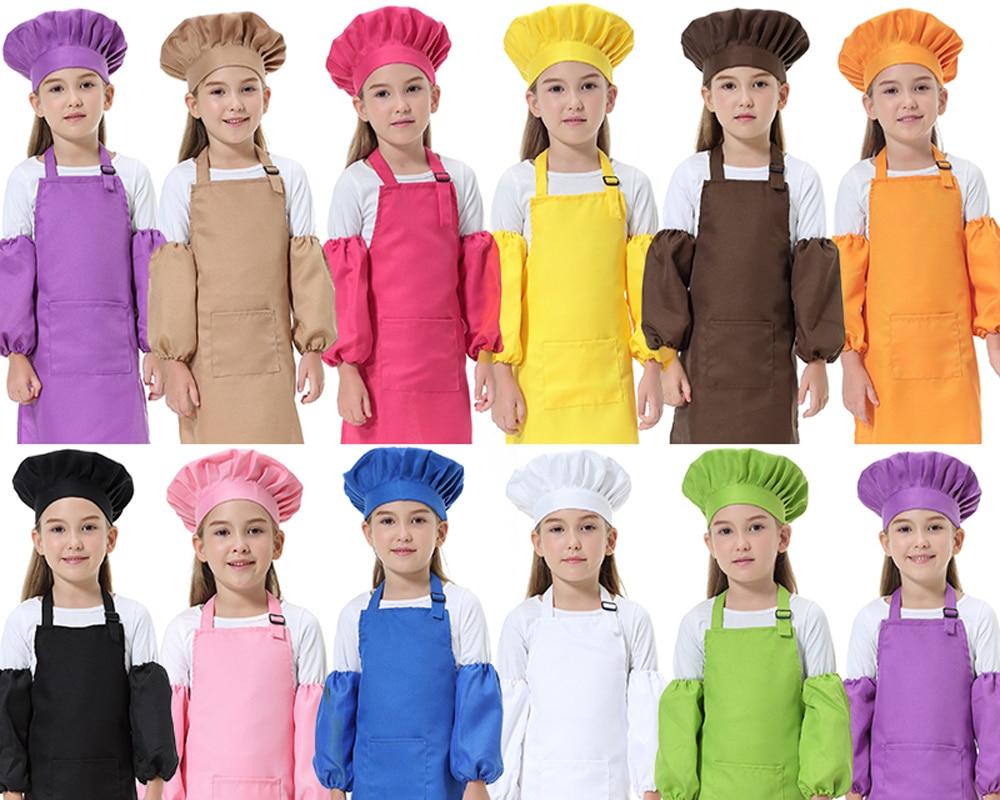 Детский фартук из полиэстера, детский фартук для выпекания, набор фартуков для повара, шляпа с принтом логотипа