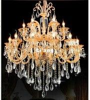 Free Ship 18L D100cm Golden Crystal Chandelier Fixture LED Modern Crystal Lustres For Living Room Dining