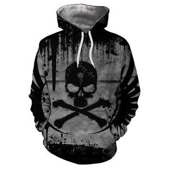 Casual Skull Print Pullover Warm Long Sleeve pocket Hoodie