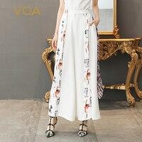 VOA тяжелый шелк Белый офисные Широкие штаны Для женщин длинные брюки плюс Размеры 5XL свободные Высокая Талия Повседневные принты Карманы ве