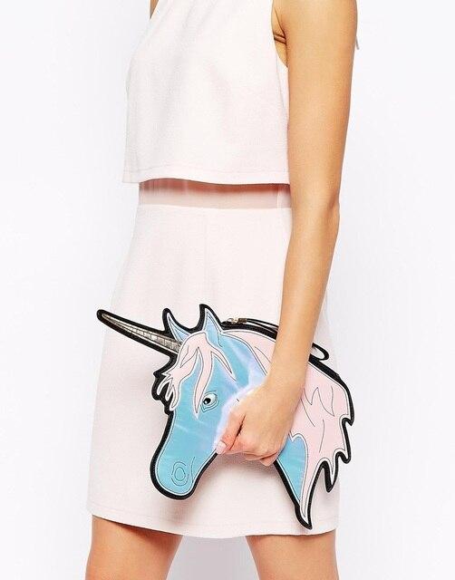 Americanos de moda de nova cavalo head olhar harajuku unicórnio saco de embreagem do laser
