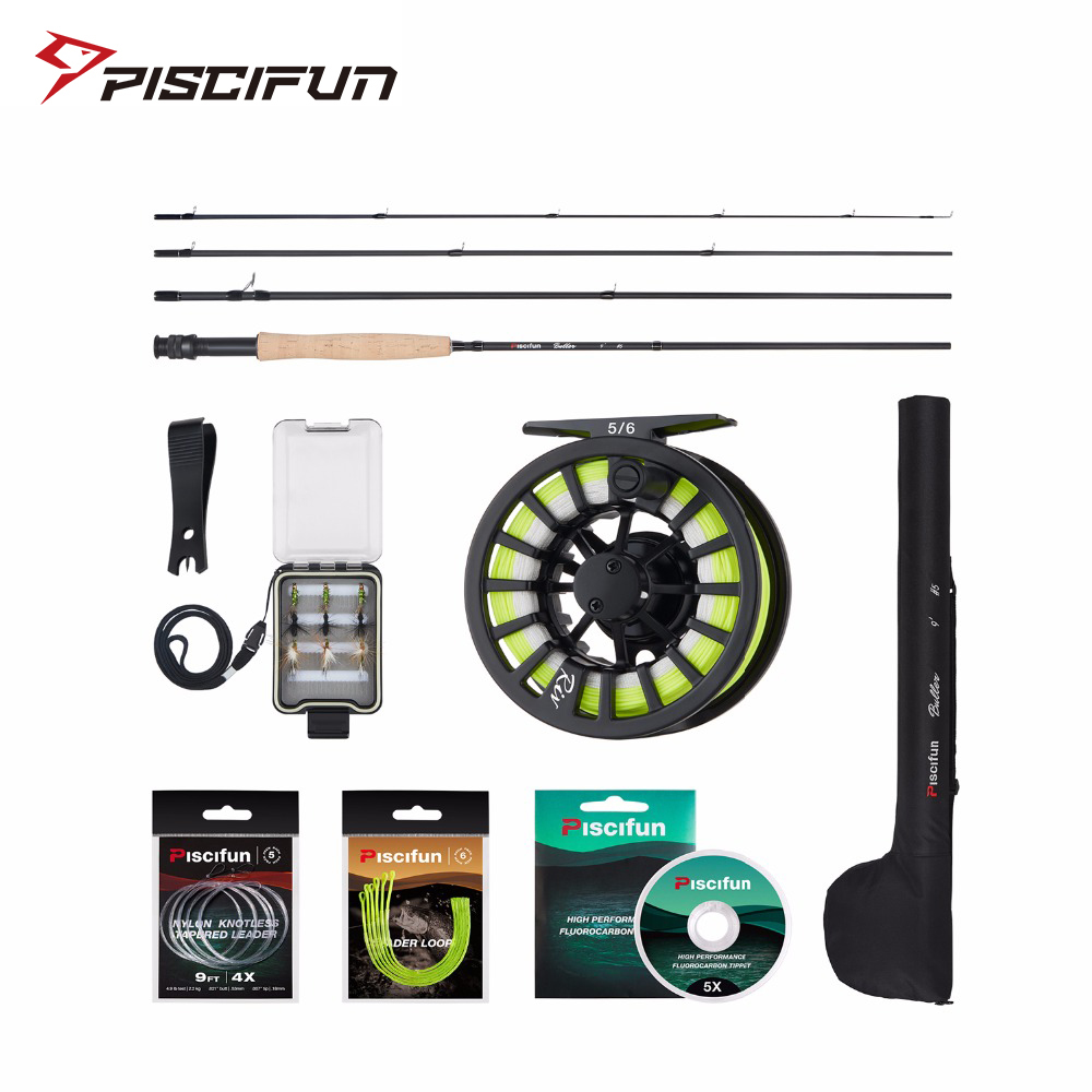Piscifun Aluminum 5/6 Fly Reel 2.7m Carbon Rod Fly Line/Backing Line/9 PCS Flies/Tackle Box With 77cm Rod Bag Fly Rod Combo