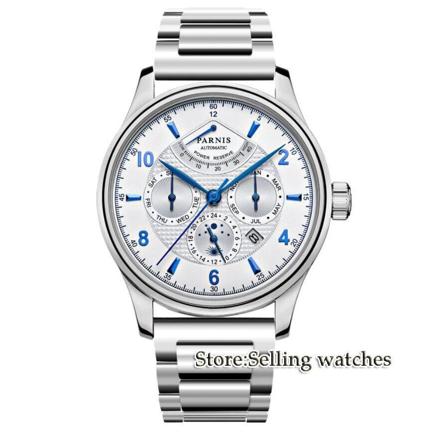 Новое поступление 42 мм PARNIS белый циферблат индикатор запаса хода фаза Луны стальной ремешок Роскошные MIYOTA автоматический механизм мужские часы