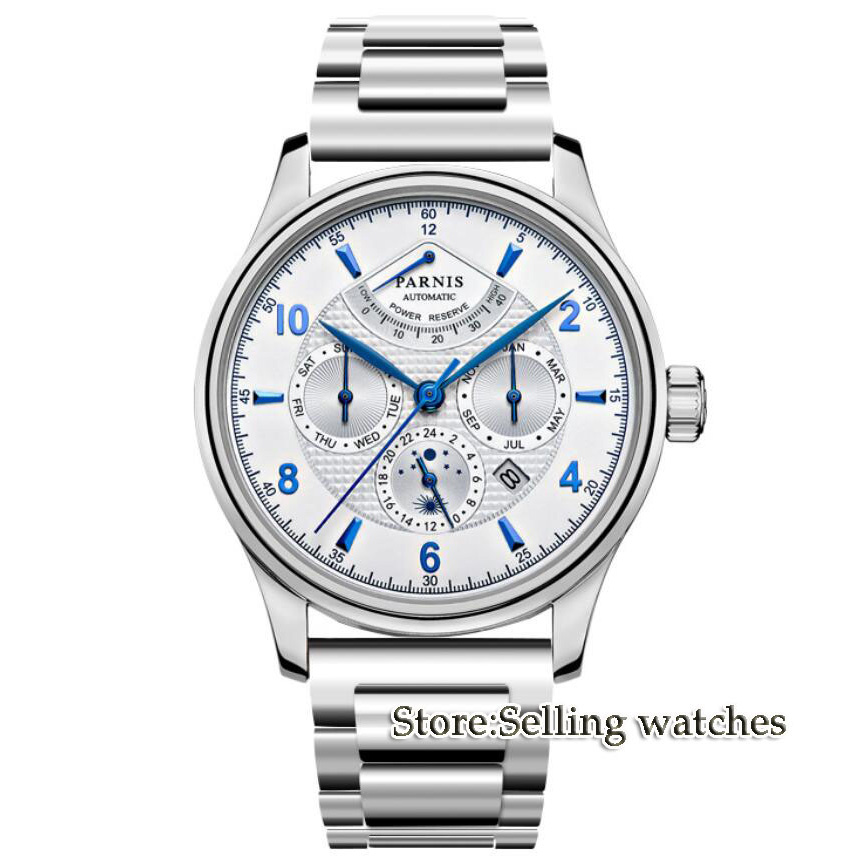 NEW Arrive 42mm PARNIS White Dial Power Reserve Indicator Moon Phase Steel Band Luxury MIYOTA Automatic Movement men's Watch luxury brand 42mm parnis black dial white dial date 24 hour power reserve moon phase miyota 9100 automatic mens wrist watch p560