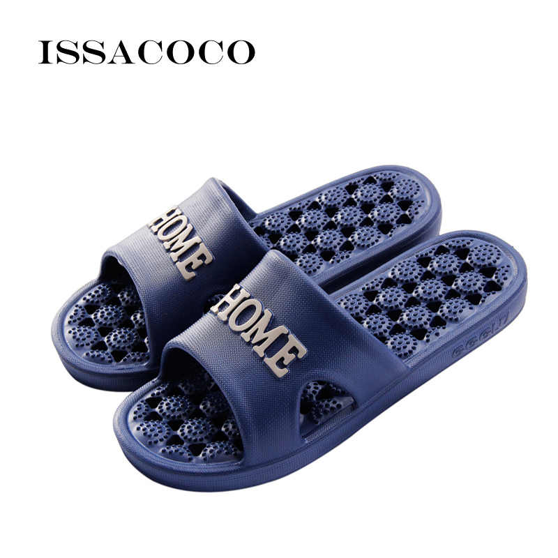 c8d50fc82 ISSACOCO Men s Indoor Solid Non-slip Massage Slippers Bathroom Home Slippers  Fashion Lightweight Beach Slippers
