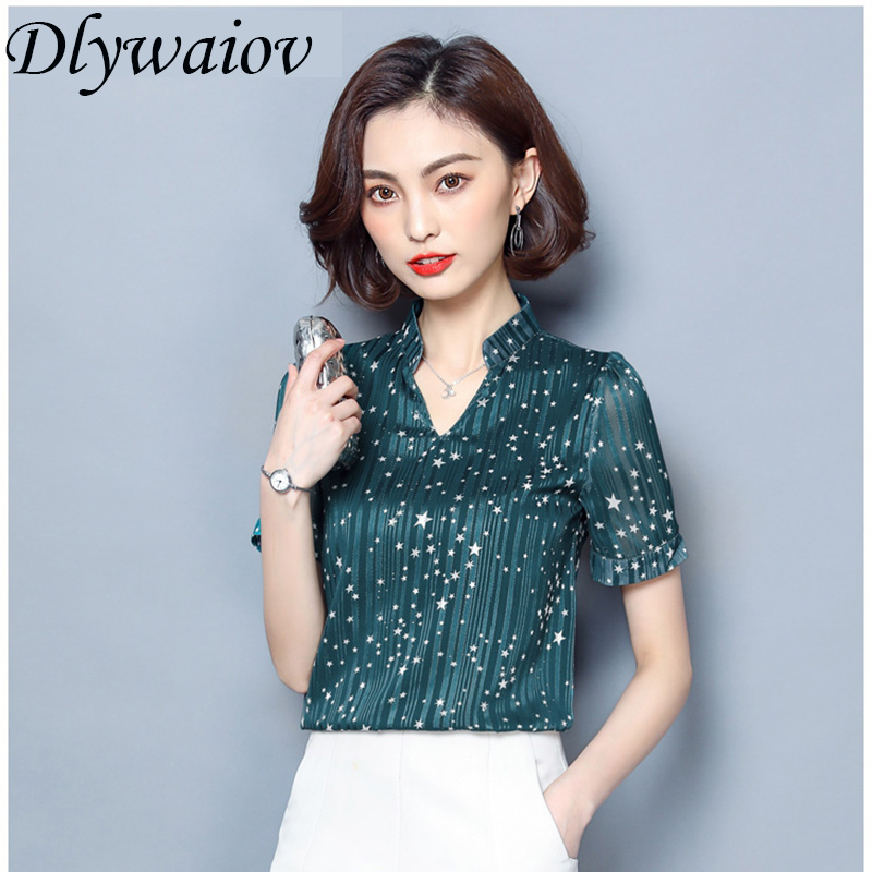 Chiffon Blouse Women Tops 2018 Summer New Short Sleeve Printing Female Shirt Fashion Large Size Slim Lladies Top 6 Colors 3XL in Blouses amp Shirts from Women 39 s Clothing