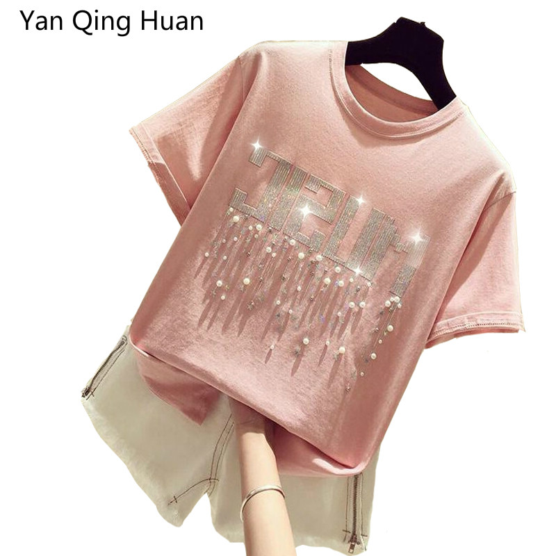 Yan Qing Huan Summer New Loose Letter Animal Rabbit Print Pattern Ladies Short-sleeved T-shirt Bow Beaded Women's Harajuku Tees