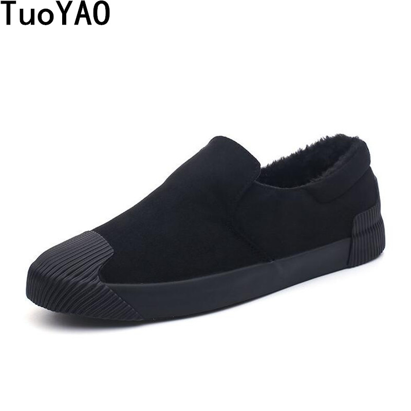 New 2018 Classic Men Casual Slip-On Autumn Winter Shoes Plush Keep Warm Comfortable Men Vulcanized Shoes Man Snow Shoes Black