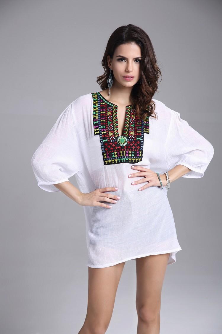 28c6833df4f917 RIKOCHIC Vintage Boho Style Embroidery White Blouse big size Summer ...