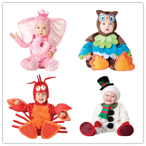 Ropa de los cabritos de Lana Conjunto Mameluco Del Bebé Muchachas de Los Monos Monos de Invierno 2016 Cosplay Animal Shapes de Halloween Traje de la Navidad