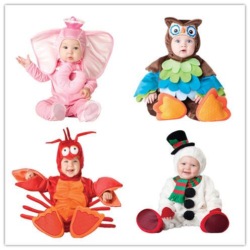 Roupa dos miúdos Conjunto Romper Do Bebê Das Meninas Dos Meninos do Velo Macacões Macacão de Inverno 2016 Animal Cosplay Formas Halloween Costume de Natal