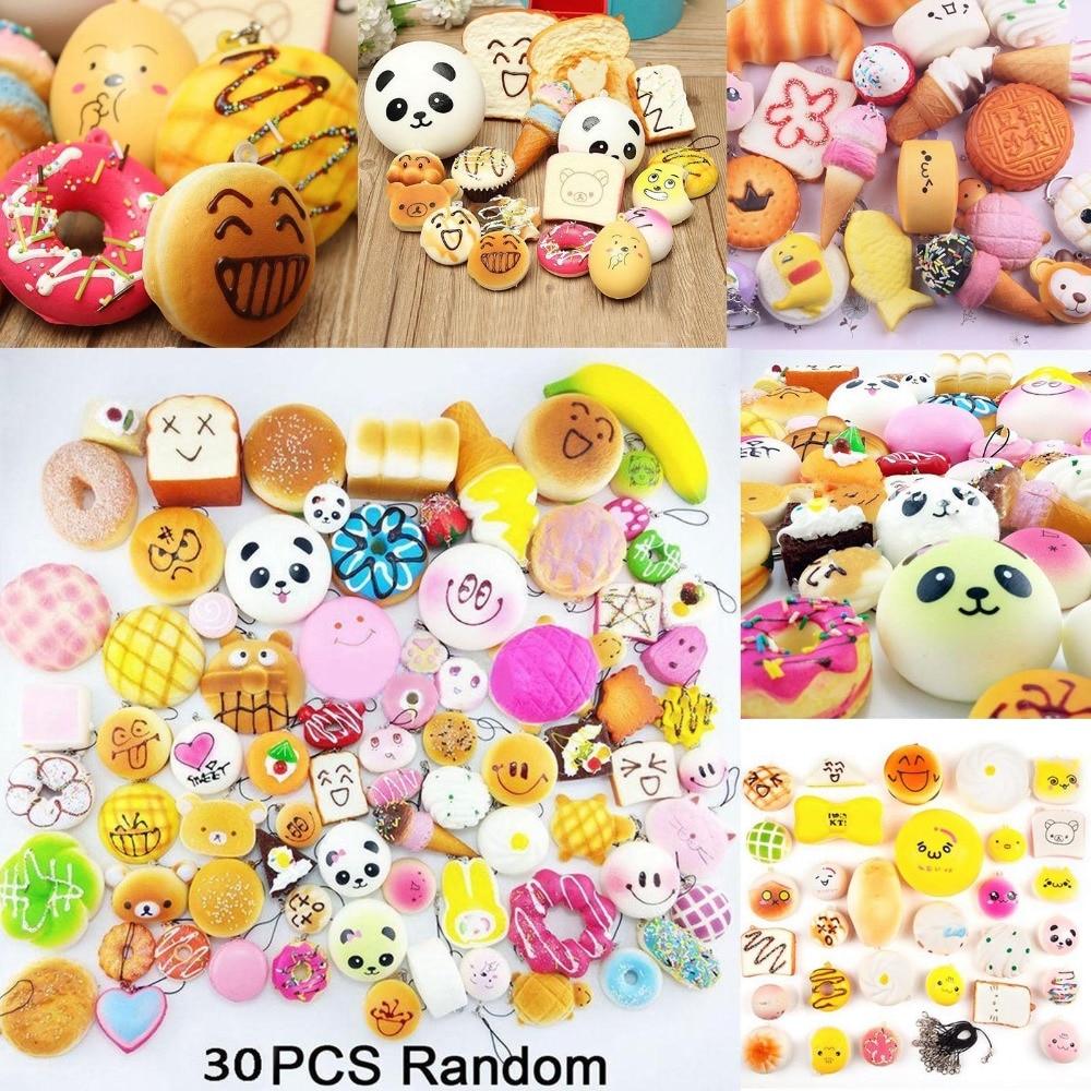 30pcs Cute Jumbo kawaii Squishy Slow Rising Peach Pendant Soft Mini Bread/Cake/ice Cream Squishies Mobile Phone Straps Kids Gift squishy zestaw