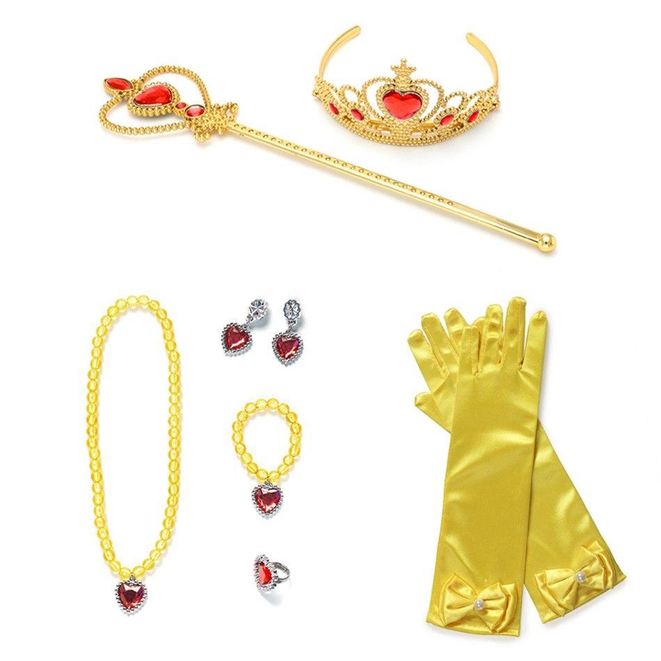 YOFEEL bébé fille couronne collier et gants enfants princesse habiller accessoires de fête 6 couleurs Elsa Belle Sofia Aurora bandeaux