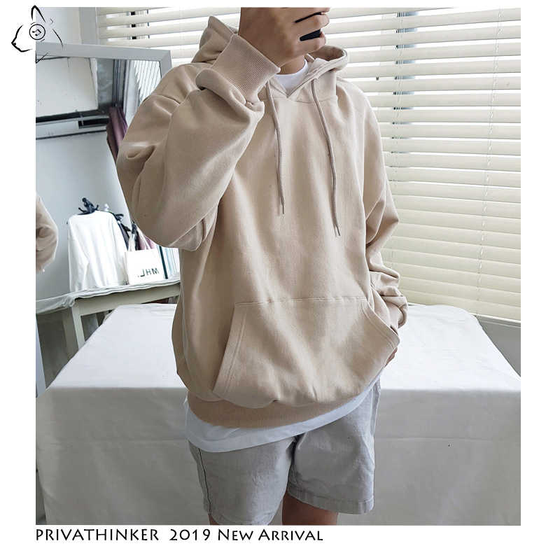 Privathinke 2020 Herfst Warm Mannen Fleece Truien 9 Kleuren Mannelijke Streetwear Thicken Hooded Sweatshirts Casual Losse Truien 5XL