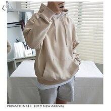 Мужская Флисовая Толстовка с капюшоном Privathinke, свободная повседневная толстовка с капюшоном, размеры до 5XL, на осень, 2020