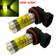2pcs H8 H11 100W 4300K Yellow Light LED Car Fog Light Driving Projector DRL Bulbs High Quality new arrival 2pcs h8 h11 100w 20led hid 2323 fog driving drl light bulbs dr23