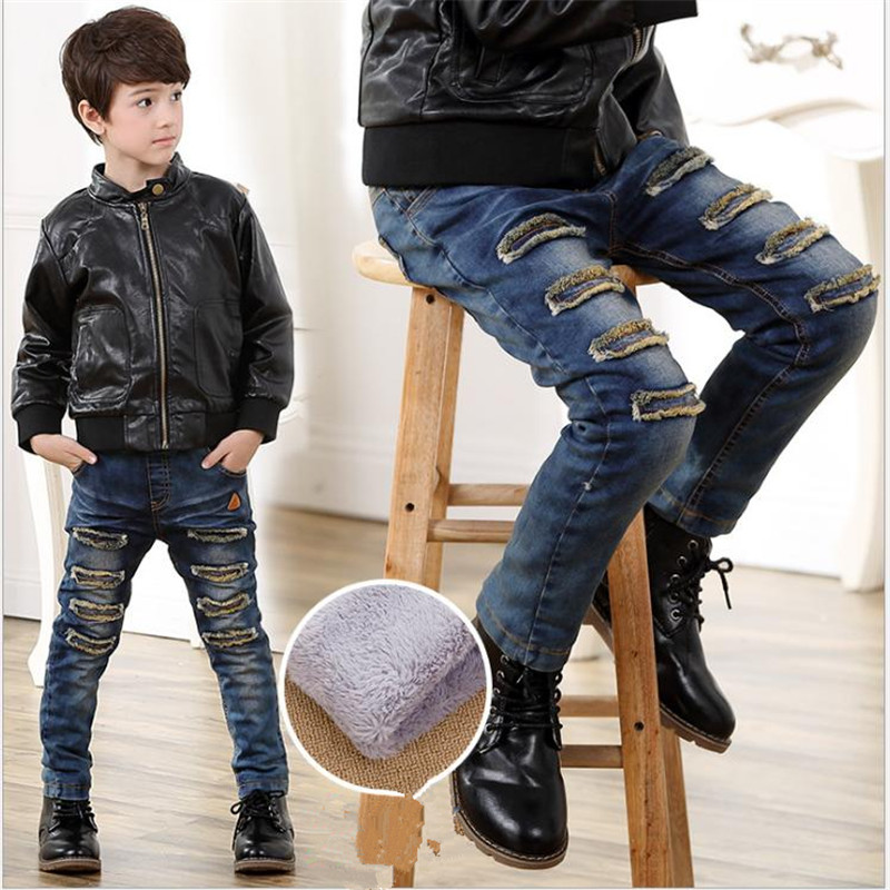 2018 winter new plus velvet Children's jeans, Korean version of cotton bullets, boys' pants, big children's student trousers