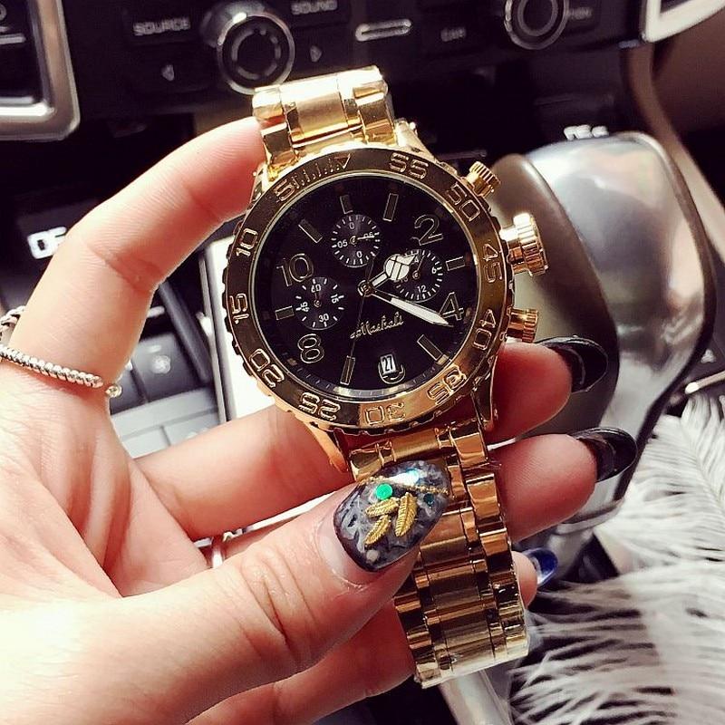 2019 Quartz Gold Watch Män Lyx Märke Top Rose Guld Klockor Kvinnor Kvinnlig Kvinna Kuk Man Känd Casual Mode Armbandsur
