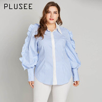 Plusee Blue Stripe Frilled Lantern Long Sleeve Shirt Plus Size Ruffle Turn down Collar Fashion Woman Blouses 2018 Camisas Mujer