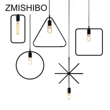 ZMISHIBO Simple Iron Pendant Lamp E27 110V 220V Black Round Triangle Cross Square Droplight For Foyer Study Room Ceiling Mounted zmishibo spider shape 8 12 16 heads e27 110v 220v pendant lamp black iron ceiling droplights for living room lighting fixtures