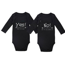 Culbutomind Yes We Are Twins Baby Body Suit For Boy and Girl Novelty Summer Spring Autumn Newborn Twin Clothing Set Black L