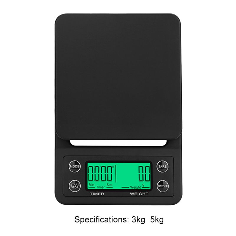 Protable 3KG/5KG Digital Drip Coffee Scale With Timer LCD Electronic Kitchen Scales 0.1g 649E
